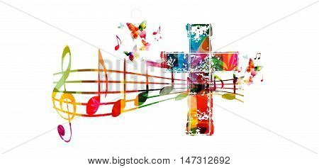 Creative music style template vector illustration, colorful cross with music staff and notes background. Religion themed design for gospel church music and concert, choir singing, Christianity, prayer