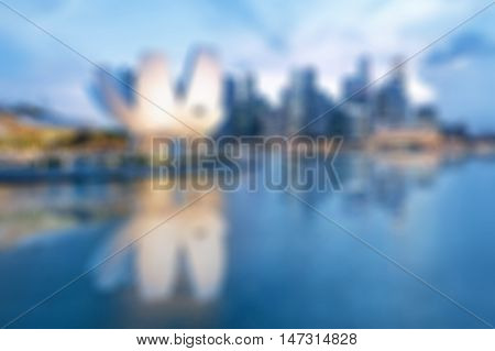 Abstract blurred backfround of Singapore at sunset