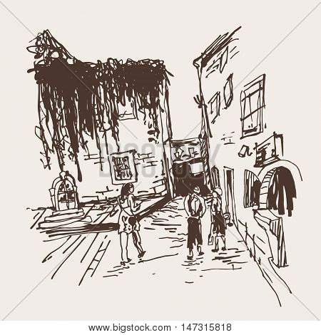 sketching of old building with clambering plant and people walking in old town Budva Montenegro, travel vector illustration