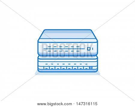 Network router icon. Internet service provider equipment. Data network hardware series vector illustration