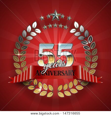 55th anniversary frame in the golden form of laurel branches. Frame for 55th anniversary. Anniversary ring with red ribbon. Anniversary festive celebration emblem. Vector illustration