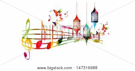 Creative music style template vector illustration, colorful Ramadan lamps with music staff and notes, Muslim celebrations and festivals background. Festive arabic lamps and traditional events design