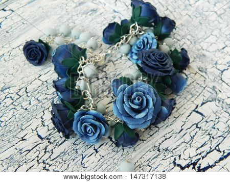 Polymer Clay Bracelet With Blue Roses