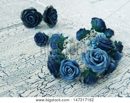Polymer Clay Bracelet And Earrings With Blue Roses