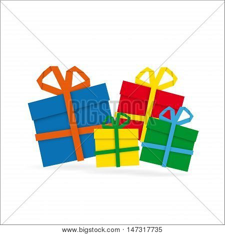 Set of colorful paper gifts on white background merry christmas