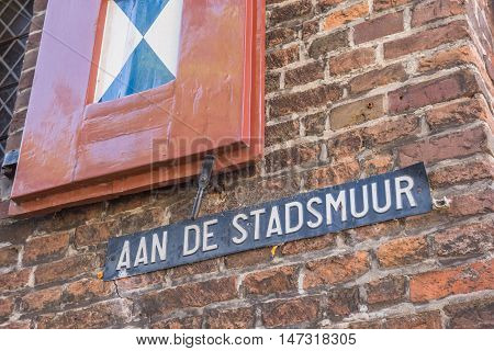 Street Sign On The Medieval City Wall Of Zwolle
