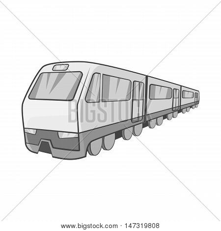Suburban electric train icon in black monochrome style on a white background vector illustration