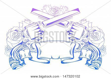 Illustration with crossed revolvers with roses and an ancient scroll. Duel. Vector element for printing on T-shirts tattoos registration card and your design