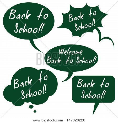 Vector Set Of Flat Green Bubbles - Back To School.