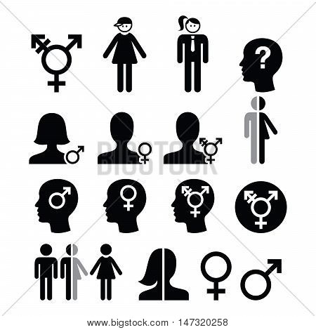 Transgender symbol, gender dysphoria, transsexual concept icons set