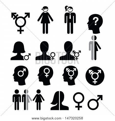 Transgender symbol, gender dysphoria, transsexual concept icons set