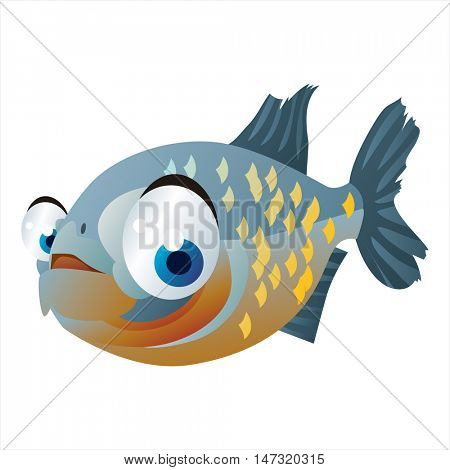 vector funny cartoon cute colorful animal image. Fish. piranha