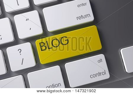 Blog Concept Modern Keyboard with Blog on Yellow Enter Button Background, Selected Focus. 3D Illustration.