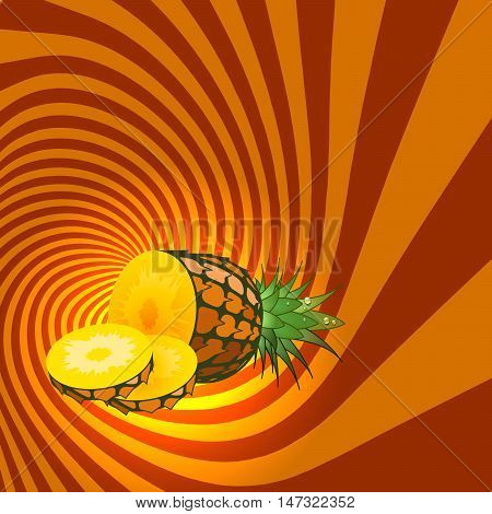 Striped spiral pineapple confectioners background. Pineapple fruit with water drops. Pineapple spiral tunnel. Fruit spiral for cover design of food with pineapple flavour. Vector Illustration.