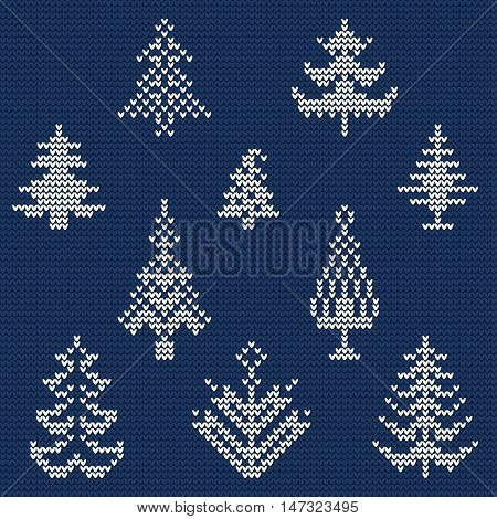 Vector Illustration of Ugly sweater Pattern for Design, Website, background, Banner. Merry christmas Knitted Retro cloth with Christmas Tree Element Template
