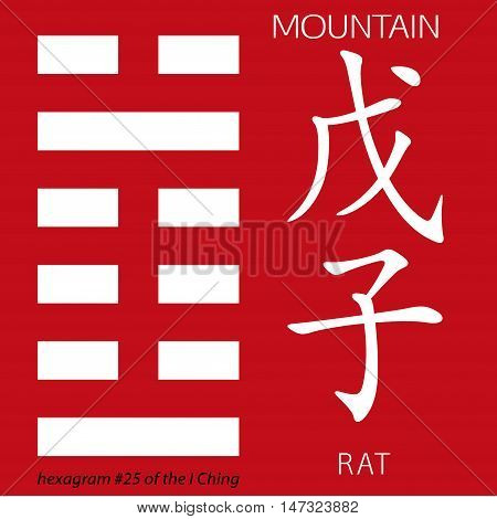 Symbol of i ching hexagram from chinese hieroglyphs. Translation of 12 zodiac feng shui signs hieroglyphs- mountain and rat.