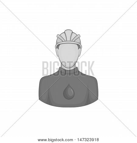 Oilman icon in black monochrome style on a white background vector illustration