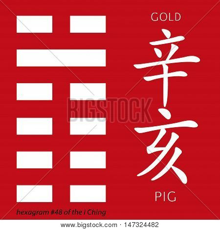 Symbol of i ching hexagram from chinese hieroglyphs. Translation of 12 zodiac feng shui signs hieroglyphs- gold and pig.