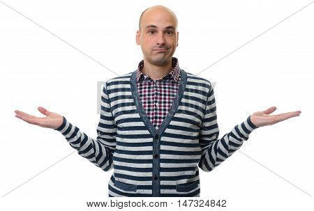 Confused Casual Man Giving I Don't Know Gesture