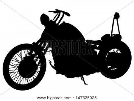 Old motor bike on white background