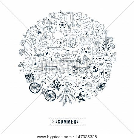 Summer heart design made of doodle season icons. Doodle travel vacation icons arranged in circle round shape