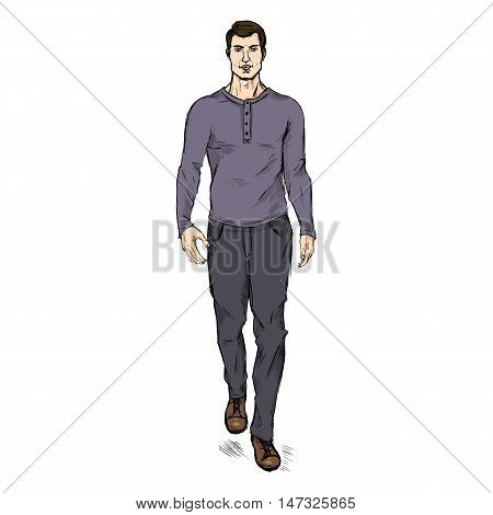Vector Single Sketch Illustration - Fashion Male Model In Trousers And Purple Longsleeve Shirt