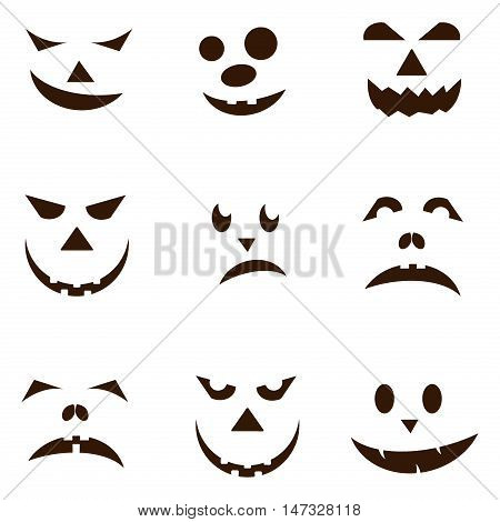 Set of spooky halloween jack o lanterns. Halloween pumpkin orange scary holiday jack o lanterns symbol. Funny halloween pumpkin jack o lantern face vector set. Jack-o-lantern pumpkin faces glowing.