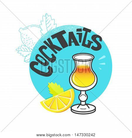 Vector illustration of eight popular alcoholic cocktails: Bloody Mary, Tequila Sunrise, Mojito, Cosmopolitan, Pina Colada, Caipirinha, Mai Tai, Margarita