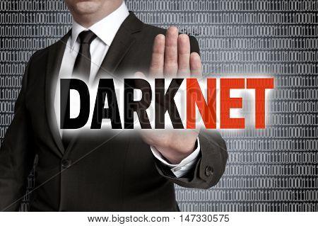 Darknet with matrix is shown by businessman.
