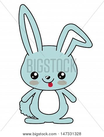 Rabbit with kawaii face icon. Cute animal cartoon and character theme. Isolated design. Vector illustration poster