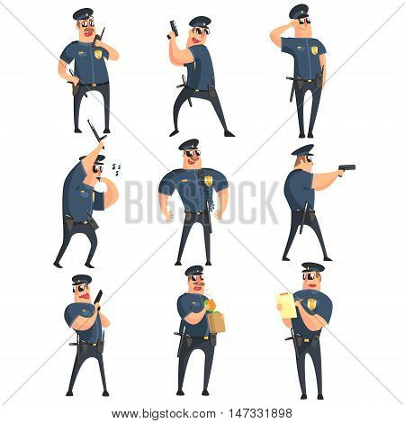 American Policeman Funny Characters Set. Cartoon Fun Style Vector Illustrations Isolated On White Background.