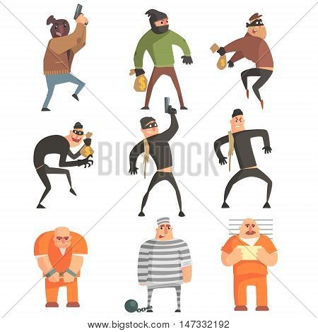 Criminals And Convicts Funny Characters Set. Cartoon Fun Style Vector Illustrations Isolated On White Background.
