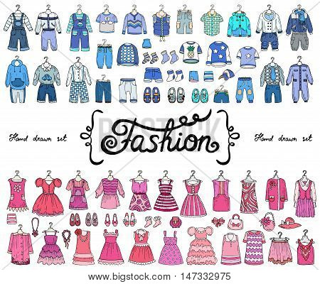 Vector set with hand drawn colored doodles on the theme of fashion. Illustrations of fashionable clothes for boys and girls. Sketches for use in design