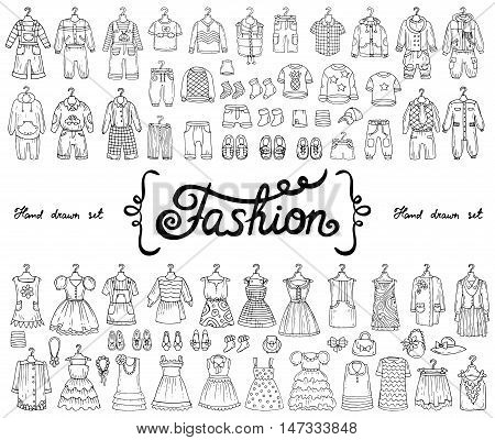 Vector set with hand drawn isolated doodles on the theme of fashion. Illustrations of fashionable clothes for boys and girls. Sketches for use in design