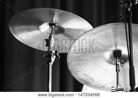 Cymbals. Black And White Photo