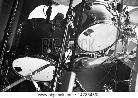 Black And White Photo Of Drum Set