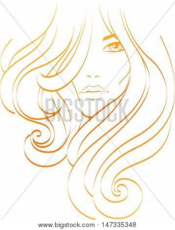 Female icon. Beautiful girl with long orange hair. Hairs icon