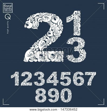 Set of vector ornate numbers flower-patterned numeration. Black and white characters created using herbal texture.