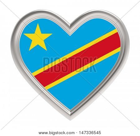 Democratic Republic Congo flag in silver heart isolated on white background. 3D illustration.