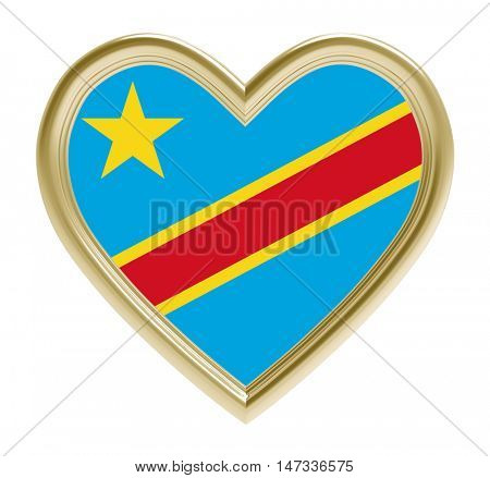 Democratic Republic Congo flag in golden heart isolated on white background. 3D illustration.