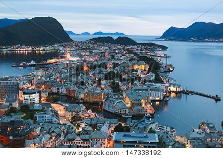 Beautiful Super Wide-angle Summer Aerial View Of Alesund, Norway, With Skyline And Scenery Beyond Th