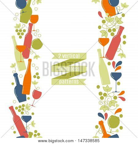 The concept of wine a wine shop sale of alcohol or wine production.Trendy vector design. 2 vertical seamless pattern.