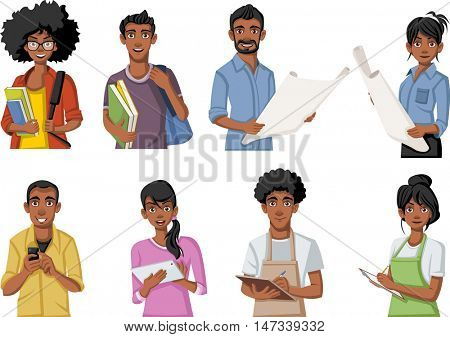 Group of cartoon black people. African teenagers.