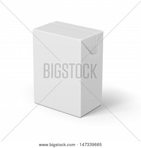White cardboard brick package for dairy products, juice or beverage. Ready for your design. Packaging collection. Vector illustration.