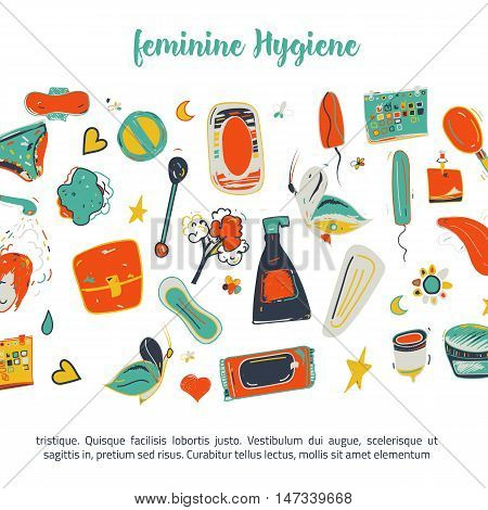 Sketch colorful Feminine hygiene funny banner design with tampon, menstrual cup, soap, sanitary napkin. Modern black line vector illustration for promo materials, package design