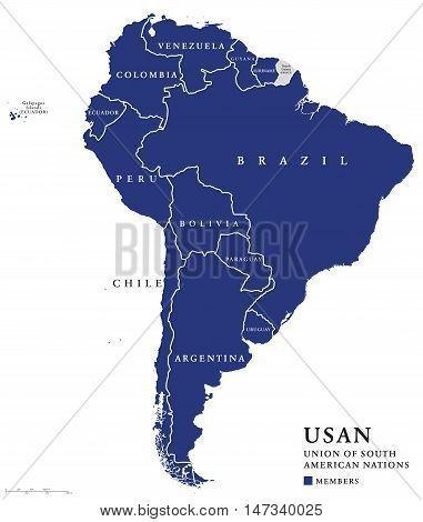 USAN, Union of South American Nations map, an intergovernmental regional organization comprising twelve South American countries. Continental union, also called UNASUR, UNASUL or UZAN. Info graphics.