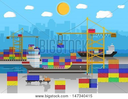 River ocean sea freight shipping by water. crane unloads cargo ship. containet truck. Background with blue sky clouds and cityscape. sea port logistics and delivery. vector illustration in flat style