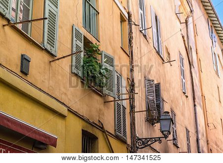 Typical Architecture of Nice old town on French Riviera