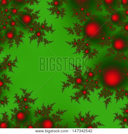 Аractal сhristmas tree branches decorated with red balls abstract background for Xmas and New Year with empty space.