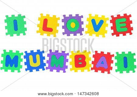 Message I Love Mumbai from letters puzzle isolated on white background.